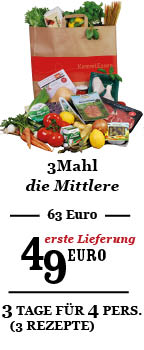3Mahl zum Willkommenspreis 49 Euro (Regulär 63 Euro)