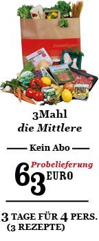 3Mahl Probelieferung für 63 Euro. Einzellieferung, kein Abo.
